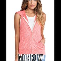 """MONROW Cosmic Vintage Sleeveless Fleece Hoodie. MONROW Cosmic Vintage Sleeveless Fleece Hoodie. New never worn, size small/med  in the color Coral.  Super soft and extremely comfortable hoodie. 25 1/2 """" Length. 55% rayon. 31% cotton. 14% polyester MONROW Jackets & Coats"""