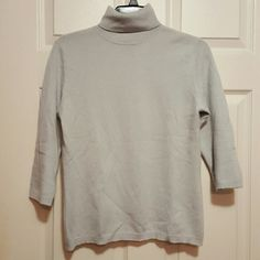 Macys Cashmere Sweater Light grey-blue. 3/4 length sleeves. Turtleneck. Worn only twice. Mint condition. Charter Club Sweaters Cowl & Turtlenecks