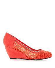 Spicy Orange (Orange) Wide Fit Coral Crochet Swirl Court Wedges   305764381   New Look