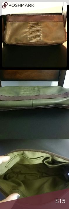 🌺CLOSET CLEAR OUT! Vintage Leather clutch Olive green and muted purple, like new, rarely used Bags Clutches & Wristlets