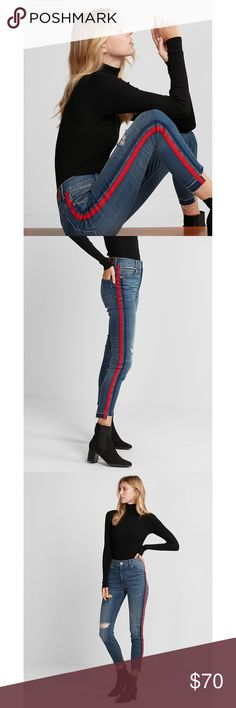 "Express high waist stripe ankle jean leggings Express high waist stripe ankle jean leggings. NWT! Features high waist, red side stripe, ankle cutout hem, and distressed leg. Inseam 29"" and waist 15"". Express Jeans"