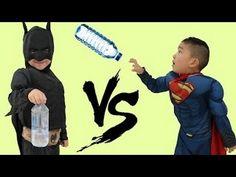Superhero Bottle Flip Challenge Batman Vs Superman Kids Amazing Trick Sh...