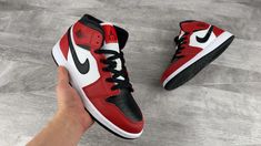 Air Jordan 1 Mid White Black Basketball Shoes Red Sneakers For Sale All Nike Shoes, Cheap Jordan Shoes, Jordan Shoes Girls, Air Jordan Sneakers, Nike Air Jordans, Jordans Sneakers, Retro Jordans, Kd Shoes, Zoom Iphone