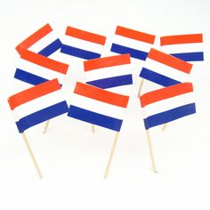 The Dutch flag features 3 equal horizontal stripes of bright vermillion (red) on top, white and cobalt blue. Netherlands Flag, Kingdom Of The Netherlands, Amsterdam Party, St Nicholas Day, 90th Birthday Parties, World Thinking Day, Flags Of The World, National Flag, Birthday Decorations
