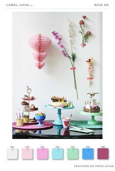 @rice_up High Summer 2015 Collection, honeycomb decorations, pastels, cake stands