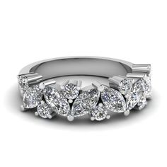 Marquise Wedding Ring Womens Wedding Bands with White Diamond in 950 Platinum exclusively styled by Fascinating Diamonds