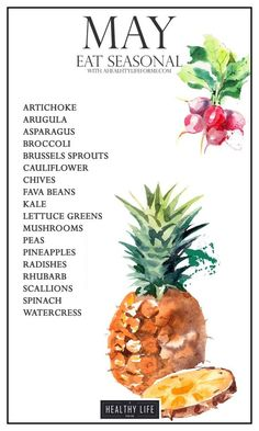 """Seasonal Produce Guide for May """" A Healthy Life For Me - Seasonal Produce Guide for May is full of spring garden favorites. Radishes, lettuce, and peas are - Healthy Life, Healthy Snacks, Healthy Living, Healthy Recipes, Eating Healthy, Healthy Cooking, Healthy Popcorn, Advocare Recipes, Cooking Beets"""