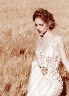 Gorgeous Vintage Beaded Wedding Gown | Rustic Wedding Dress | Braided Bridal Hair | Loose Braid | 1920s | 1930s | Fashion Inspiration