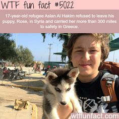 WTF Facts : funny, interesting & weird facts — Aslan Al Hakim, a Syrian refugee that carried his. We Are The World, In This World, Wtf Fun Facts, Random Facts, Random Stuff, Funny Animals, Cute Animals, E Mc2, Faith In Humanity Restored