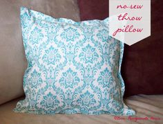 No-Sew Throw Pillows--tutorial using minimal craft supplies and an iron (or flat-iron, for those of us who are *really* not craft-inclined.)