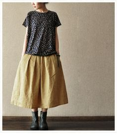 Yellow Cotton long women skirt Linen skirt --- love this