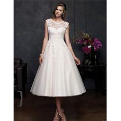 Custom Made Vestido De Novia 2016 White/Ivory Tulle Applique Mid-calf Lace Wedding Dress Vestido De Casamento