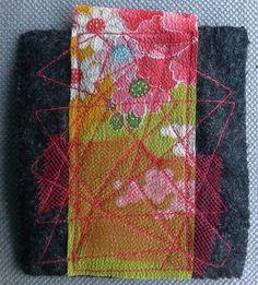 Broche/Tableau textile japonisant.  Composition par VeronikB