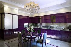Ordinary Program For Contemporary Kitchen With Purple Color Design And Brick Wall | Decoration Themes