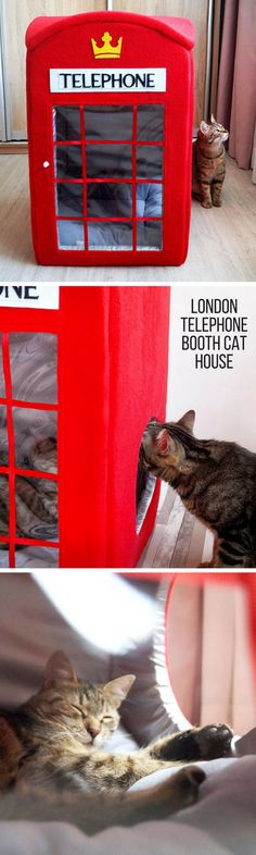 London-o-philes will ADORE this cute cat house from Etsy! Your kitty gets to stay safe and comfy inside. There's even room for a friend - if they'll let another cat come in, that is. #Londoncathouse #telephonebooth #catcondo #catbed #Londonphile #Etsy #aff
