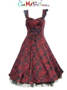 Black Red Brocade Floral 50's Dress Rockabilly Retro pinup Vintage Style 6671