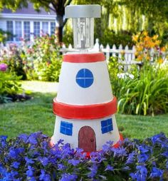 DIY clay pot lighthouse garden light