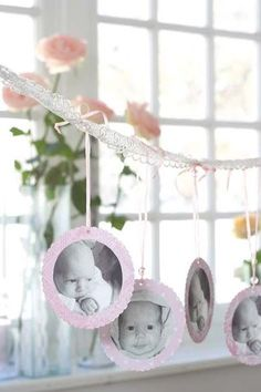 Baby photo garland but instead of lace, a small branch Christening Decorations, Christening Party, Baptism Party, Baby Party, Baptism Ideas, Dedication Ideas, Baby Dedication, Baby Birthday, First Birthday Parties