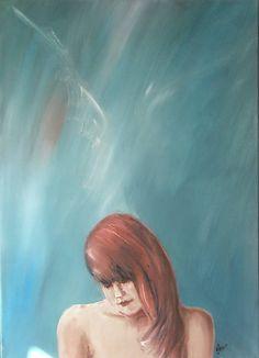 jos24 / Dievča s anjelom Art For Sale, My Arts, Painting, Painting Art, Paintings, Painted Canvas, Drawings