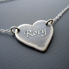 Small Personalized Heart Necklace - Heart Jewelry. $80.00, via Etsy.
