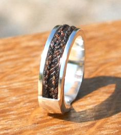 Custom horsehair ring, sterling silver horsehair gold horsehair ring, rose gold horsehair ring, made from your OWN horses hair Horse Hair Jewelry, Cowgirl Jewelry, Western Jewelry, Leather Jewelry, Metal Jewelry, Leather Cuffs, Braided Bracelets, Metal Bracelets, Horse Ring