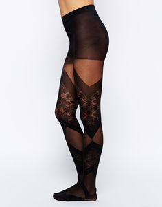 Gipsy | Gipsy Lace and Sheer Bondage Look Tights at ASOS