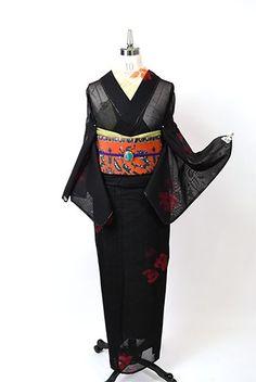 黒地にルージュレッドの薔薇の花美しい紗の夏着物 - アンティーク着物・リサイクル着物のオンラインショップ 姉妹屋