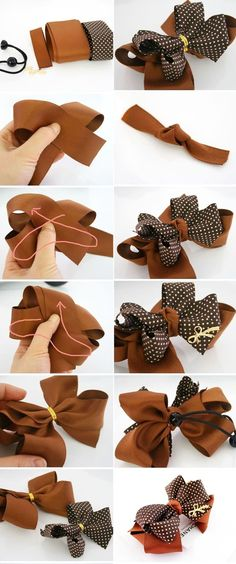 This is the easiest way to make a bun for yourself or as a gift - tiaras - Accesorios para Cabello Ribbon Art, Diy Ribbon, Ribbon Crafts, Ribbon Bows, Making Hair Bows, Diy Hair Bows, Diy Bow, Hair Bow Tutorial, Barrettes