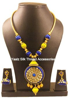Yaalz Silk Thread Kundan Stone Work Choker Neckset In Royal Blue & Yellow Colors Silk Thread Jumkas, Silk Thread Necklace, Thread Jewellery, Necklace Set, Beaded Necklace, Stone Work, Jewelries, Blue Yellow, Royal Blue