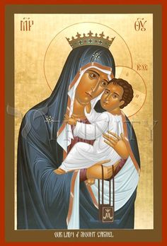 "Our Lady of Mount Carmel | Catholic Christian Religious Art - Icon by Br. Robert Lentz, OFM - From your Trinity Stores crew, ""Here's to Carmelites!"""