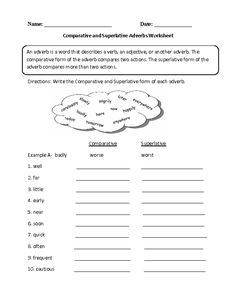 Comparative and Superlative Adverb Worksheet
