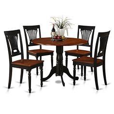 East West Furniture DLPL5BCHW 5Piece Kitchen Table and Chairs Set BlackCherry Finish >>> More info could be found at the image url. (This is an affiliate link and I receive a commission for the sales)
