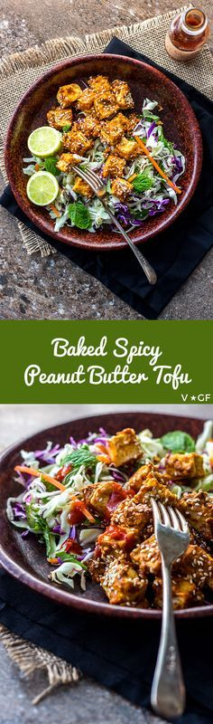 Oven-baked cubes of tofu coated with spicy peanut butter and sesame seeds are tasty protein bombs to add to salads (vegan and gluten free). via @quitegoodfood