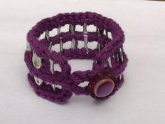 Crocheted Purple Cotton Pop Tab Button Bangle Bracelet