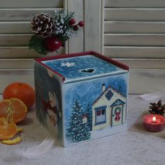 Wooden box. Decoupage box. Christmas box. Casket. wood box. box with lid. gift. a gift for the new year. Decoupage. by HelenBeautydecoupage on Etsy