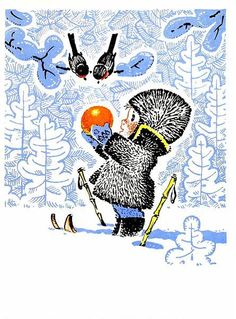 Russian vintage New Year's postcard, 1969, artist Vladimir Zarubin. #illustrations