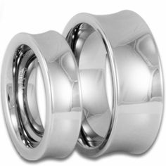 """His and Hers """"Scoop"""" Style Tungsten Wedding Ring Set. Engraving is available for these rings at #ringninja. $109.99."""