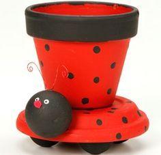 Ladybug Clay Pot Planter