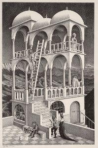MAURITS CORNELIS ESCHER, Belvedere, 1958 Litografia, 462 x 295 mm. Collezione Federico Giudiceandrea BTA - Bollettino Telematico dell'Arte / Testi / bta00730.html