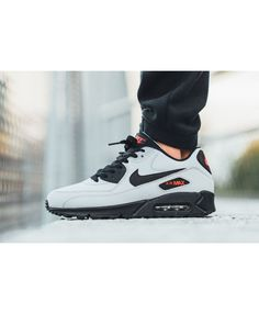 new arrival 16948 dc8da Nike Air Max 90 Homme Essential Gris Noir Rouge Air Max 90 Leather, Nike  Shoes