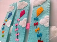 Felt bookmark kite flying on blue sky unique by DusiCrafts on Etsy                                                                                                                                                                                 Mais