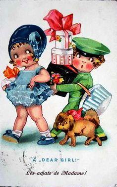 """""""A Dear Girl!"""" Vintage Postcard ~ LÁMINAS ANTIGUAS 3-Ideas y Trabajos terminados (pág. 795)"""