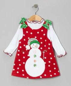 Adorable Red Snowman Fleece Jumper & Top - Infant, Toddler & Girls by Gerson & Gerson on today! Toddler Dress, Baby Dress, Infant Toddler, Toddler Girls, Sewing For Kids, Baby Sewing, Jumper Outfit, Cute Outfits For Kids, Little Girl Dresses