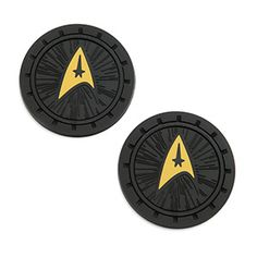 These Star Trek Delta Logo Auto Coaster Set will help protect your vehicle from sticky sodas and that alien presence that occurs when assorted substances combine in the bottom of your auto's cupholder.
