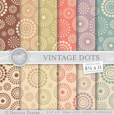 VINTAGE DOTS Pattern 8 1/2 x 11 Digital Paper Set by MNINEdesigns  *Great for use on greeting cards, invitations, printable projects, party packs.