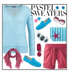 Pastel sweaters by amisha73 on Polyvore featuring moda, Mint Velvet, prAna, Skylar Blake, Bling Jewelry, Mosaique, Oliver Peoples, Deborah Lippmann and pastelsweaters