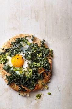 Fried egg and rappini pizza on whole wheat pita