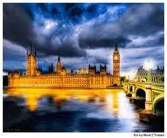 London England Fall City Skyline and Fall City, Westminster, London England, Dusk, Big Ben, Palace, Skyline, Night, London