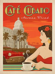 Cafe Cubano - Cuban Coffee is rich, bold, vibrant and flavorful—just like this classic poster design!This print will transport you to Havana every time you look at it.                                                                                                                                                                                 More