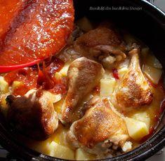 Pui cu cartofi si rosii la cuptor - Bunătăți din bucătăria Gicuței Pot Roast, New Recipes, Foodies, Pork, Cooking, Ethnic Recipes, Martha Stewart, Food, Carne Asada